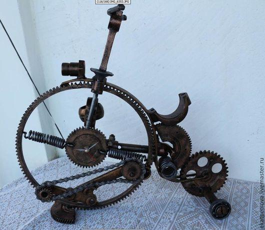 """Часы для дома ручной работы. Ярмарка Мастеров - ручная работа. Купить Часы """"Механический велосипед"""". Handmade. Велосипел, арт-металл"""