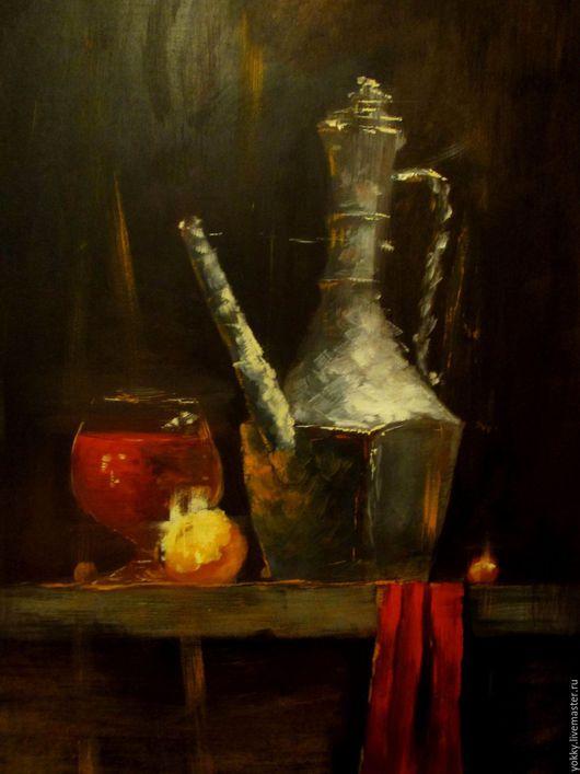 Натюрморт ручной работы. Ярмарка Мастеров - ручная работа. Купить Чайник Древности. Handmade. Черный, чайник, красный, старинный, маслом