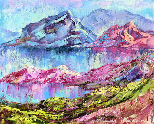 """Пейзаж ручной работы. Ярмарка Мастеров - ручная работа. Купить Картина горы и озеро """"Хрустальная Тишина"""" (холст, масло). Handmade."""