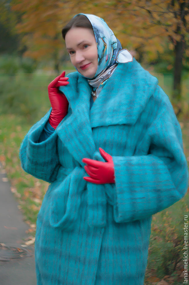 Cocoon coat with belt 'Mohair', Coats, Moscow,  Фото №1