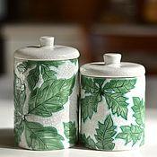 Посуда ручной работы. Ярмарка Мастеров - ручная работа Парные баночки с листьями. Handmade.