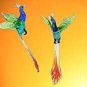 Для дома и интерьера ручной работы. Ярмарка Мастеров - ручная работа Интерьерное подвесное украшение из цветного стекла птица Павлин Kibir. Handmade.