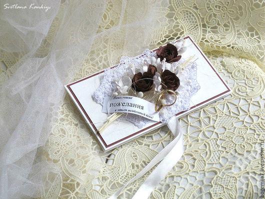 """Свадебные открытки ручной работы. Ярмарка Мастеров - ручная работа. Купить Свадебный конверт для денег """"Букет"""" (белый). Handmade. Белый"""