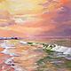 Морской пейзаж.  40х60 см. Интерьерная живопись.\r\nМорской пейзаж выполнен на натуральном холсте (лён) масляными красками. Море Морской прибой Закат Розовый закат Картина маслом Пейзаж Марин