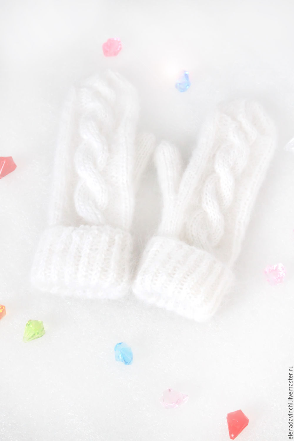 Knitted mittens mohair 'White', Mittens, Moscow,  Фото №1