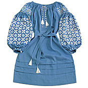 """Одежда handmade. Livemaster - original item Платье-вышиванка """"Звездный Туман"""". Handmade."""