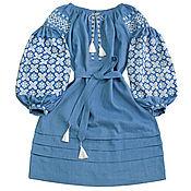 "Одежда handmade. Livemaster - original item Dress with embroidery ""Stellar Mist"". Handmade."