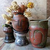 Вазы ручной работы. Ярмарка Мастеров - ручная работа Комплект керамических ваз ручной работы.Цветные глазури.Семья короля. Handmade.