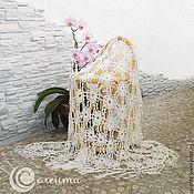 """Свадебный салон ручной работы. Ярмарка Мастеров - ручная работа Шаль """"Венская"""" свадебная, шелк 100%, ажурная, вязание крючком. Handmade."""