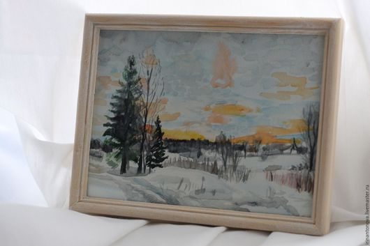 Пейзаж ручной работы. Ярмарка Мастеров - ручная работа. Купить Акварель - Морозный пейзаж. Handmade. Акварель, акварельный рисунок, зима