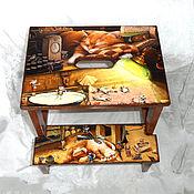 Для дома и интерьера handmade. Livemaster - original item Stepladder - stool cat Kuzma kuzkina mouse. Handmade.