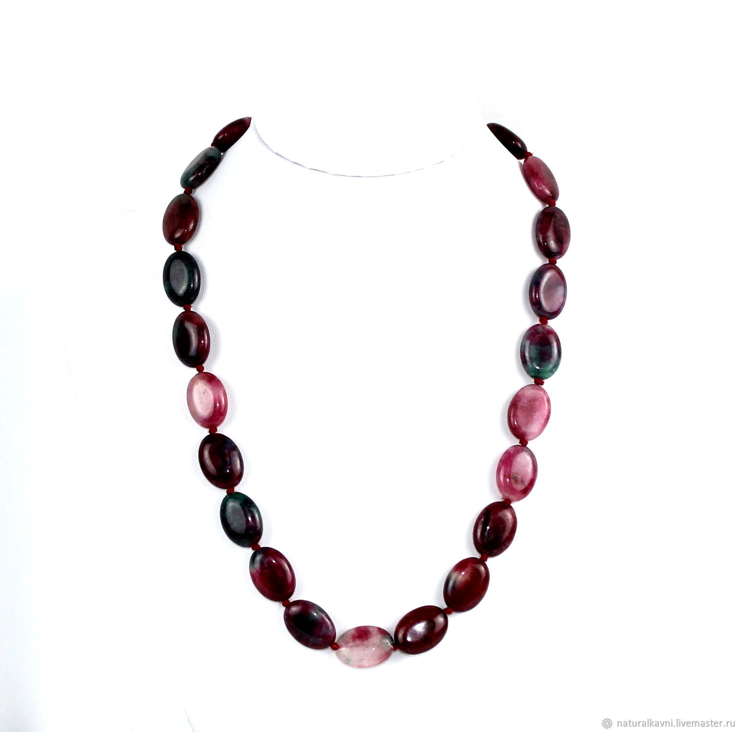 Oval beads made of natural stone tourmaline, Beads2, Moscow,  Фото №1