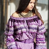 Одежда handmade. Livemaster - original item Cotton dress embroidery lace Bohemian Yesenia Violet. Handmade.
