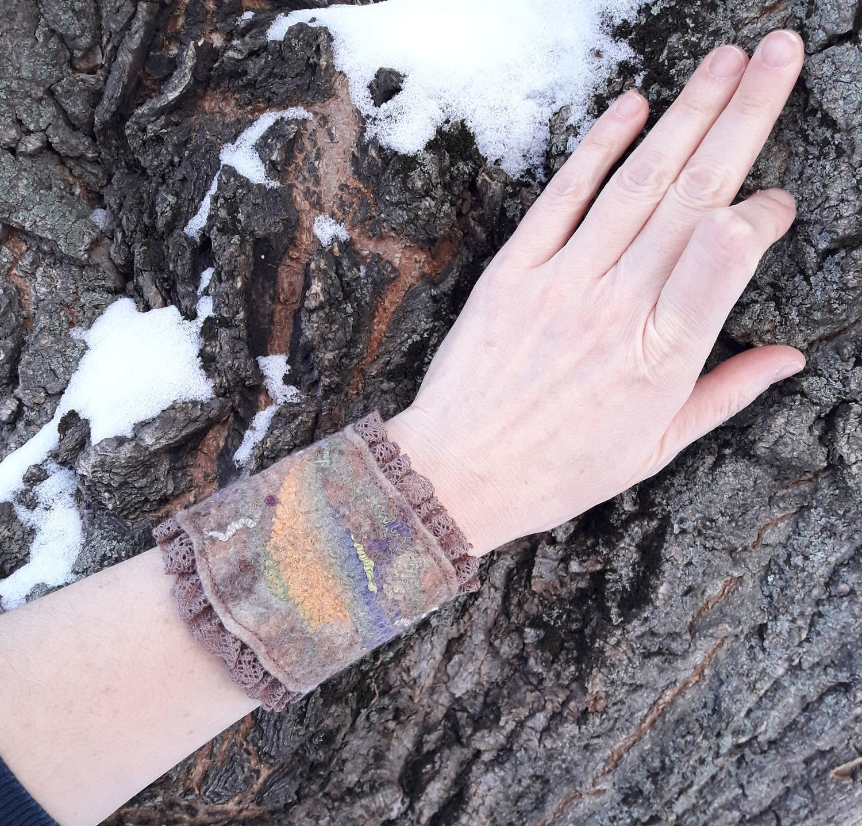 Felt bracelet with lace, Cuff bracelet, Moscow,  Фото №1