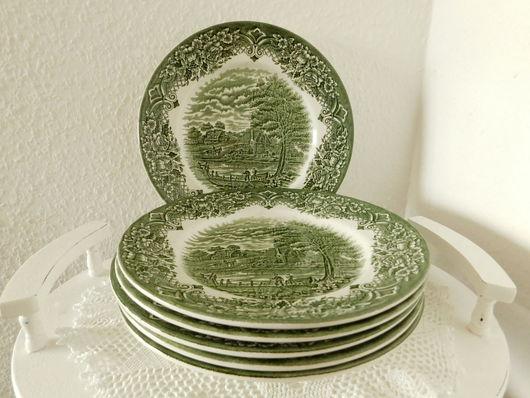 Винтажная посуда. Ярмарка Мастеров - ручная работа. Купить Набор столовых тарелок. Англия. Зеленые.. Handmade. Зеленый, английский фарфор