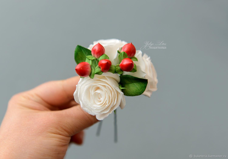 Шпилька с розами и ягодами гиперикума  из полимерной глины, Украшения, Железнодорожный,  Фото №1