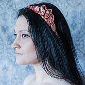 Украшения ручной работы. Ярмарка Мастеров - ручная работа Вышитый бисером ободок с яшмами. Handmade.