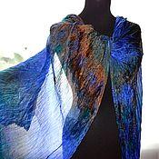 Аксессуары handmade. Livemaster - original item Silk scarf stole blue emerald brown wrinkled female. Handmade.