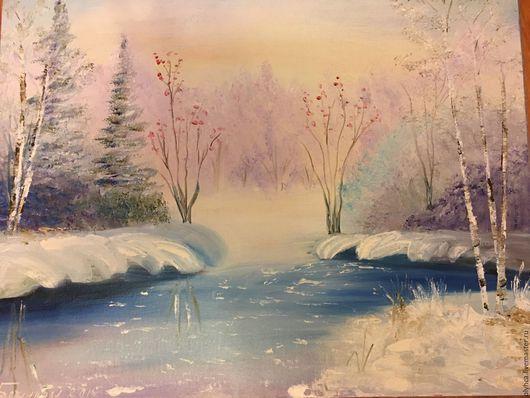 Пейзаж ручной работы. Ярмарка Мастеров - ручная работа. Купить Зимний лес. Handmade. Голубой, позитивный подарок, мороз