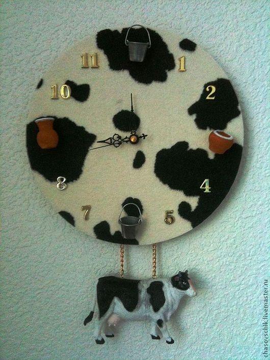 """Часы для дома ручной работы. Ярмарка Мастеров - ручная работа. Купить Часы настенные """"Фермерские"""" кухонные с коровой. Handmade."""