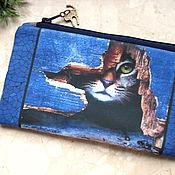 Сумки и аксессуары handmade. Livemaster - original item Cosmetic Bag, phone bag, bridesmaid clutch, bag with cat picture. Handmade.