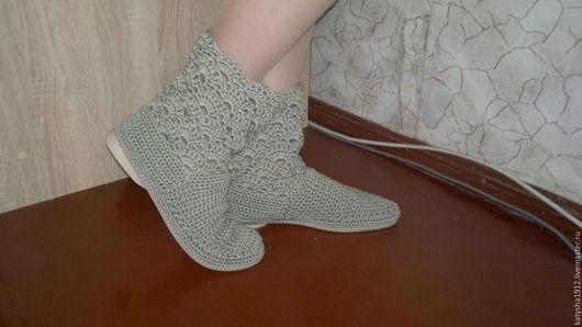 Обувь ручной работы. Ярмарка Мастеров - ручная работа. Купить Вязаные полусапожки. Handmade. Оливковый, летние сапоги, подошва ТЭП