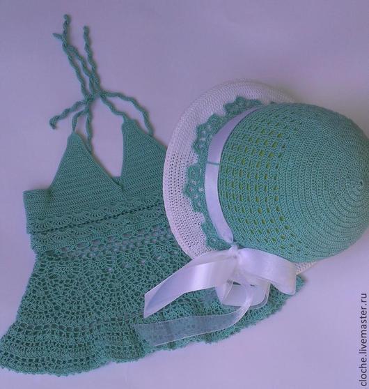 """Одежда для девочек, ручной работы. Ярмарка Мастеров - ручная работа. Купить Набор шляпка и топик """"Мятная конфета"""". Handmade."""