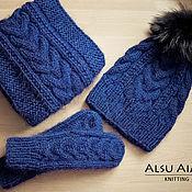 Аксессуары ручной работы. Ярмарка Мастеров - ручная работа Вязаный комплект шапка+шарф+варежки. Handmade.