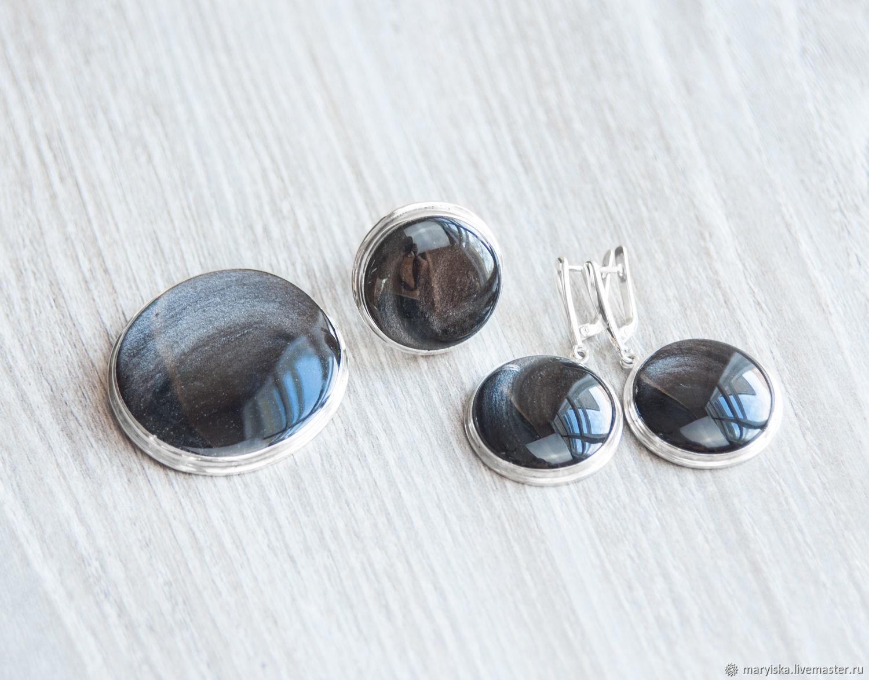 Iridium obsidian (pendant brooch) (891), Jewelry Sets, Tambov, Фото №1