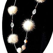 handmade. Livemaster - original item beads with fur. Golden sand mink. Handmade.