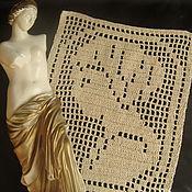 Для дома и интерьера ручной работы. Ярмарка Мастеров - ручная работа Вязаная декоративная  вставка - виньетка на подушку  Ариадна. Handmade.