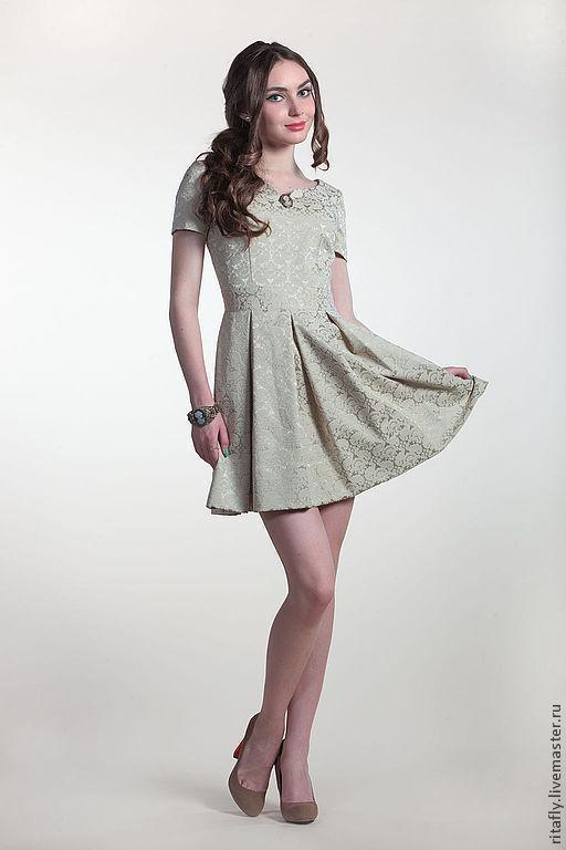 Платья ручной работы. Ярмарка Мастеров - ручная работа. Купить Мини платье из жаккарда -1. Handmade. Салатовый, Светлое платье