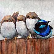 Картины и панно ручной работы. Ярмарка Мастеров - ручная работа Птички на заборе. Акварель.. Handmade.
