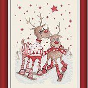 """Схемы для вышивки ручной работы. Ярмарка Мастеров - ручная работа """"Прогулки с оленями. На лыжах"""". Схема для вышивки крестиком. Handmade."""