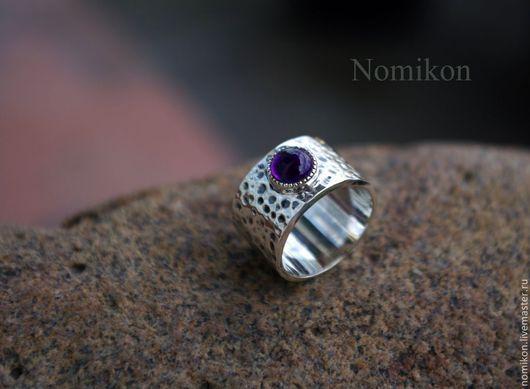 Кольца ручной работы. Ярмарка Мастеров - ручная работа. Купить Кованное кольцо - серебро с аметистом. Handmade. Аметист, кованый перстень