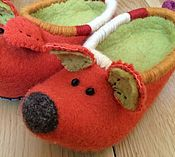 Обувь ручной работы. Ярмарка Мастеров - ручная работа Тапочки red Fox, pink Pig, grey Dog. Handmade.