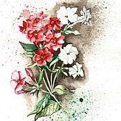 """Картины и панно ручной работы. Ярмарка Мастеров - ручная работа Акварель """"Флоксы"""". Handmade."""