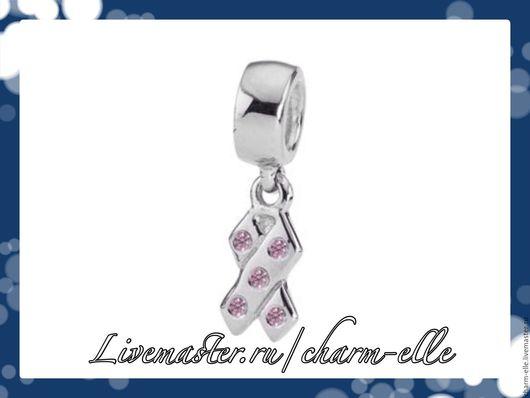 Для украшений ручной работы. Ярмарка Мастеров - ручная работа. Купить Подвеска из серебра 925 пробы Розовая ленточка. Handmade.