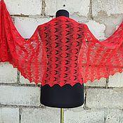 Аксессуары handmade. Livemaster - original item Stole Openwork Red Lace Scarf. Handmade.