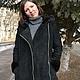 Верхняя одежда ручной работы. Куртка замшевая черная с ассиметричной молнией,норкой и капюшоном. Ирина (dneproart). Ярмарка Мастеров.