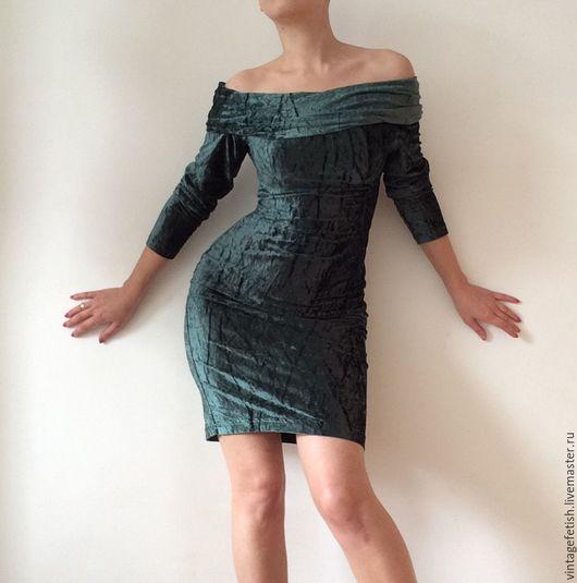 Одежда. Ярмарка Мастеров - ручная работа. Купить Винтажное бархатное платье KOOKAI. Handmade. Kookai, зеленый бархат, платье стрейч