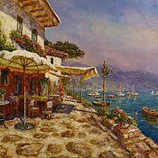 Картины и панно handmade. Livemaster - original item Oil painting cafe on the waterfront. Handmade.