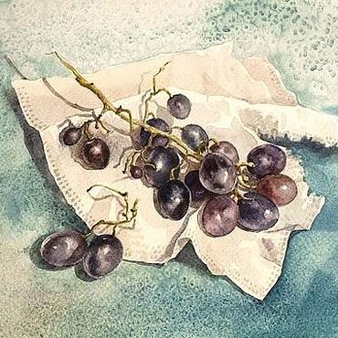 Картины и панно ручной работы. Ярмарка Мастеров - ручная работа Виноград. Картина, акварель в раме. Handmade.