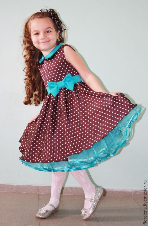 Одежда для девочек, ручной работы. Ярмарка Мастеров - ручная работа. Купить Нарядное детское платье в стиле стиляги. Handmade. Разноцветный