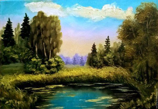 Пейзаж ручной работы. Ярмарка Мастеров - ручная работа. Купить Картина маслом. Пейзаж. Травы.. Handmade. Ярко-зелёный, трава