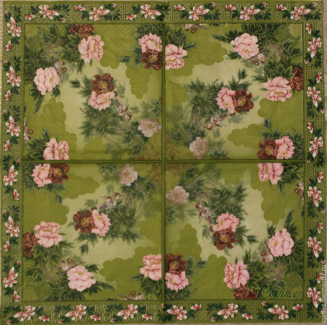 3pcs napkin for decoupage flowers rococo, Napkins for decoupage, Moscow,  Фото №1