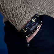 Украшения handmade. Livemaster - original item Set of three men`s bracelets Leather, Bronze, Aura Hypersthenes, Onyx, Set. Handmade.