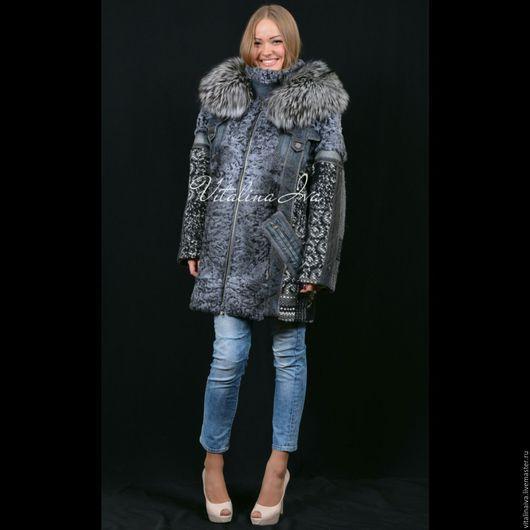 Верхняя одежда ручной работы. Ярмарка Мастеров - ручная работа. Купить Куртка зимняя комбинированная. Handmade. Зимняя мода, каракуль