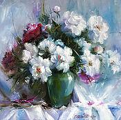 """Картины и панно handmade. Livemaster - original item Oil Painting on canvas """"Tenderness of pions"""". Handmade."""