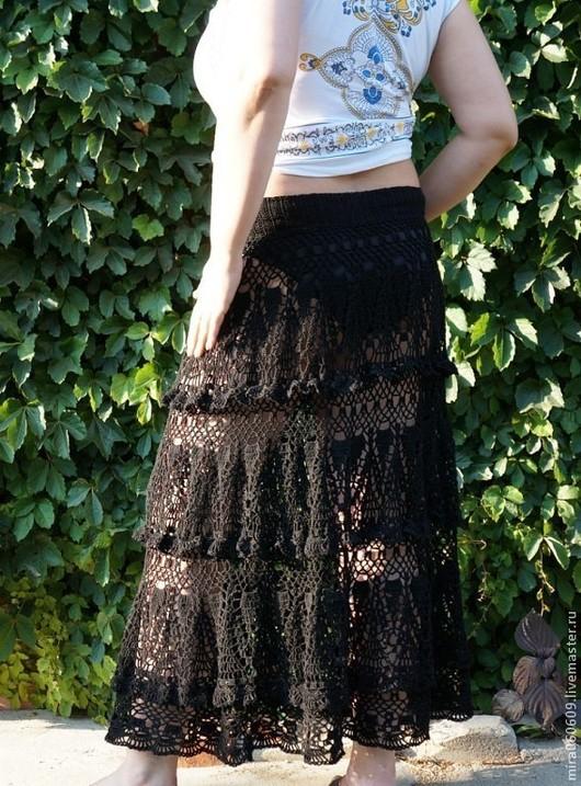 Юбки ручной работы. Ярмарка Мастеров - ручная работа. Купить Юбка крючком в пол,вязаная юбка,ажурная юбка. Handmade.